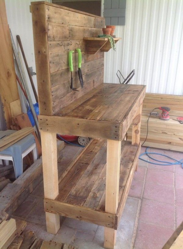 Potting Bench Made From Repurposed Wooden Pallets Wood