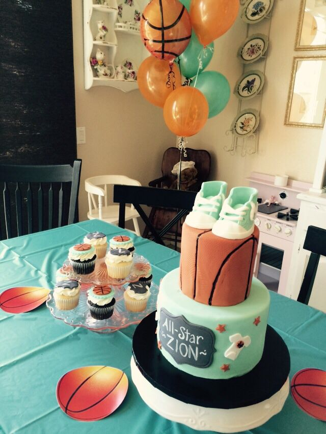Cake and cupcakes basketball baby shower | Basketball baby ...