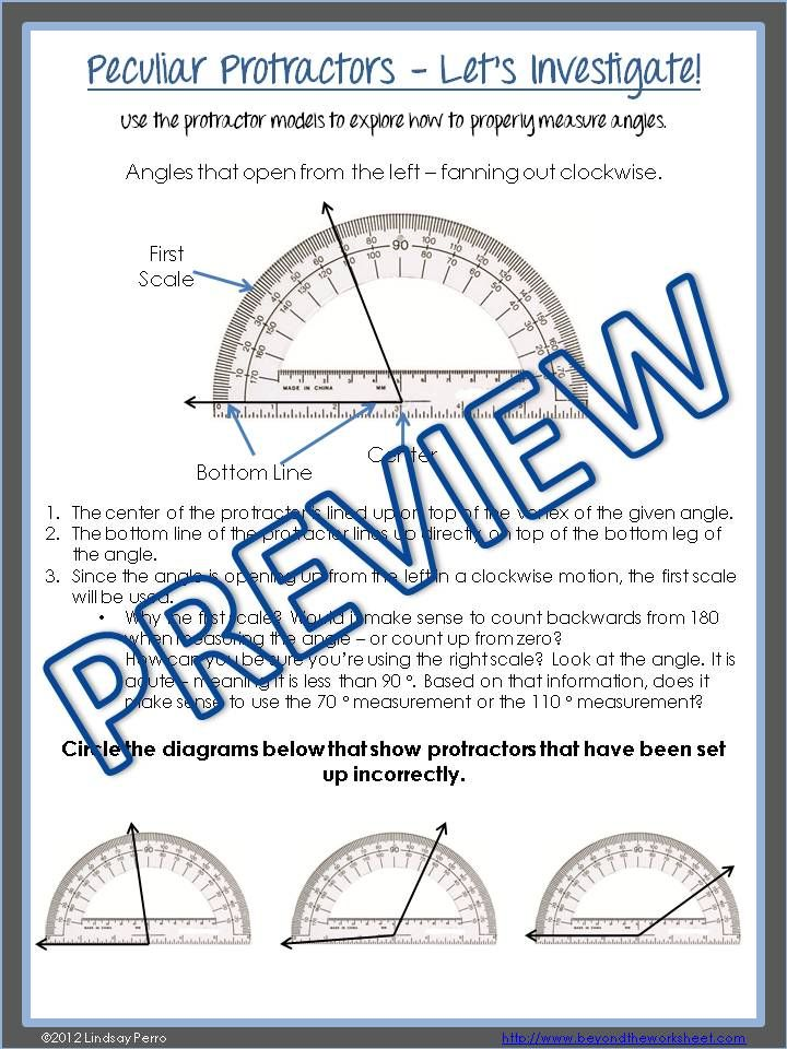 Helping students make sense of using protractors to properly measure and draw angles using the Common Core approach!  This lesson plan has 4 parts - Warm Up, investigation, Hands on Pairs Practice and two versions of an Independent Practice Coloring Worksheet.  Using protractors properly is a tough skill for students! This resource provides students with a clear understanding of how to use protractors to both measure angles and draw them!