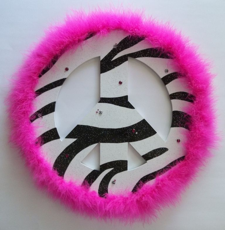 hand painted fuzzy pink zebra print peace sign. | Wall Decor ...