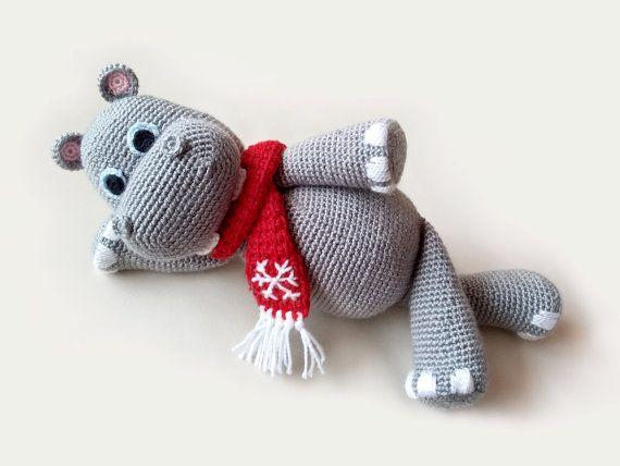 Christmas Crochet Hippo PATTERNS, Hippopotamus Crochet Tutorail