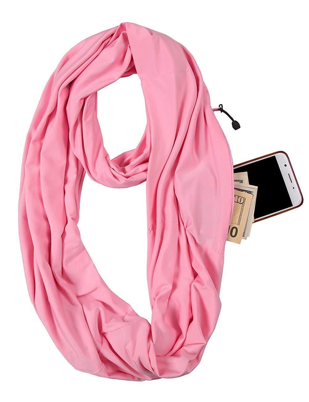 aab3e22f5b767 JOKHOO Infinity Scarf Wrap with Secret Hidden Zipper Pocket, Best Travel  Scarfs