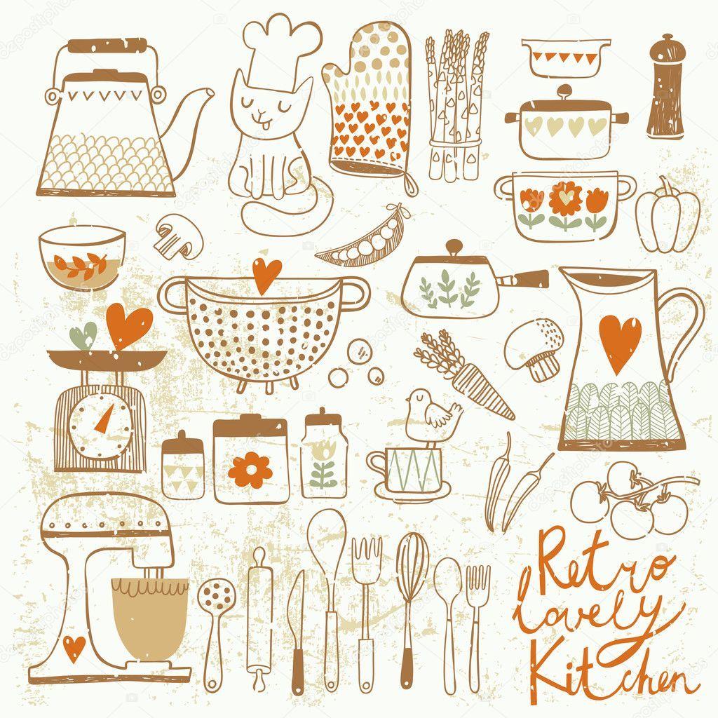 Imagen Relacionada Comida Vintage Cocina De Epoca Vectores Comida