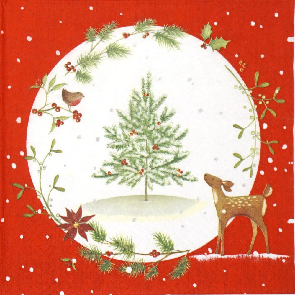 4x Paper Napkins for Decoupage Craft Vintage Picking up Christmast Tree