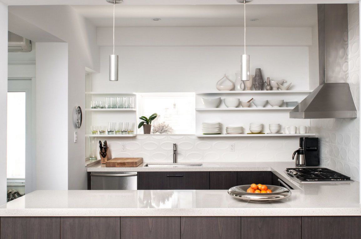 modern kitchen dark wood cabinets pendant lights open shelving white ...
