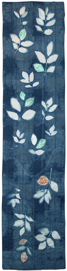 'Leaves Come Tumbling Down' by Pat Salt - resist indigo background with sun printed leaves, some stenciling and applique with herringbone quilting