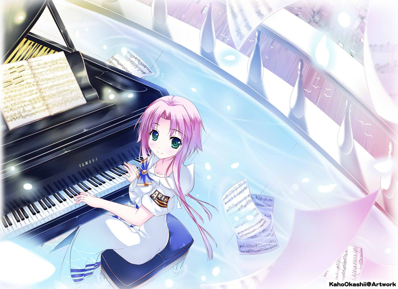 Play the music notes anime girl piano cute HD Wallpaper