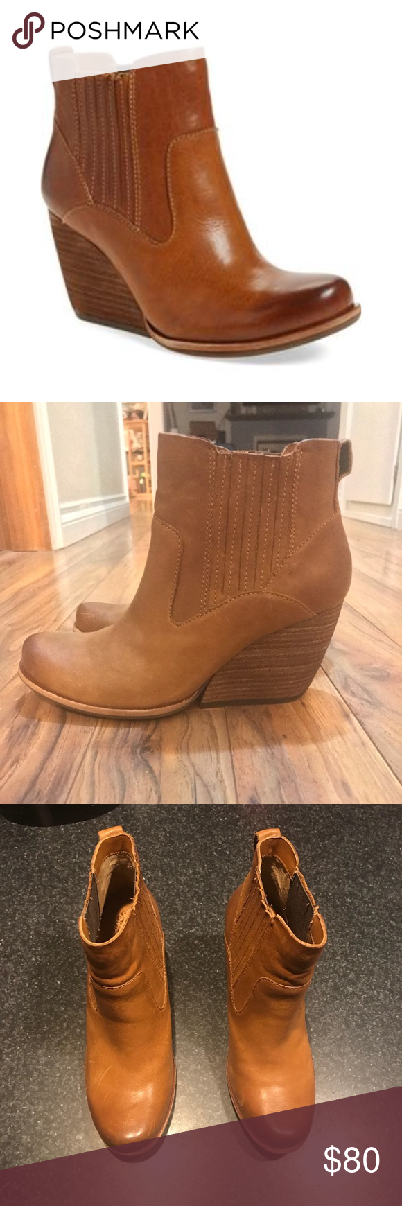 c7c38d1215d6 Kork Ease Verdelet  Wedge Bootie Kork Ease wedge booties in beautiful camel  color Brand new never worn outside Size 8 Genuine leather Perfect fall  bootie!