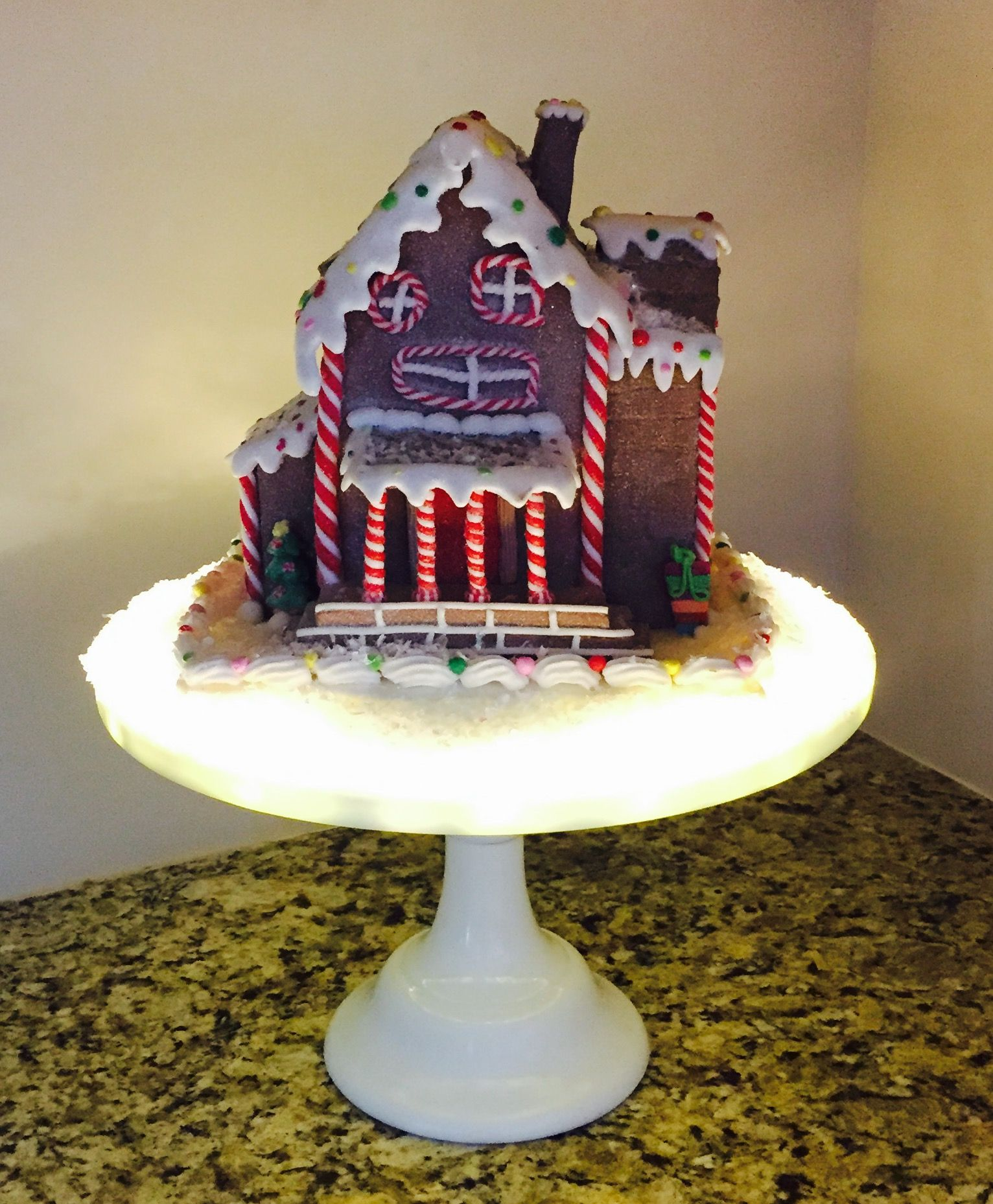Created a base for my gingerbread house with LED craft