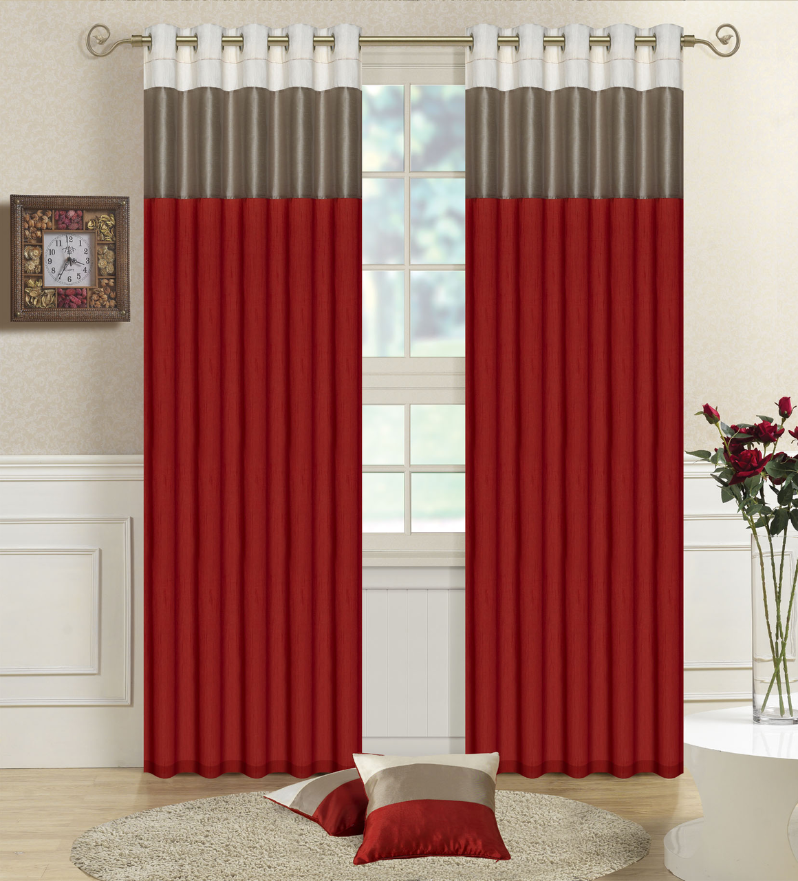 Details About Faux Silk Lined Curtains Three Tone Bedroom Curtain