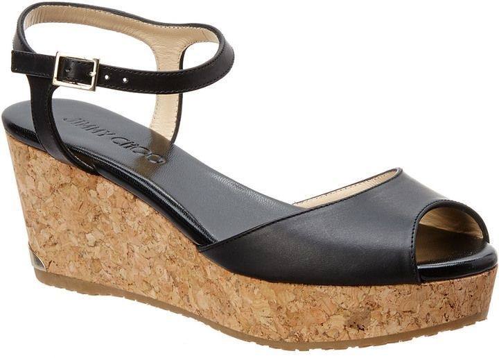521d3cd3e0d Jimmy Choo Perla 70 Vachetta Leather Wedge Sandal