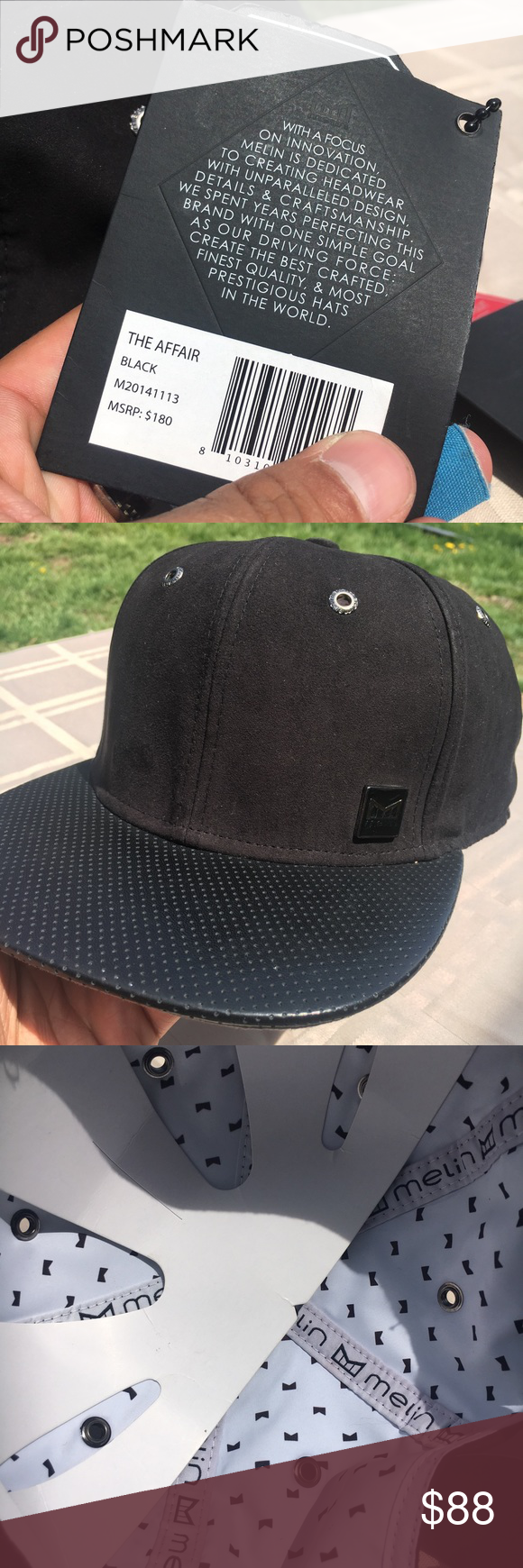 sports shoes a1349 e6547  1 Luxury Hat Brand - Affair Secret Packeted Brand New Black Suede and Napa  Leather Melin Brand Hat, new with tags and comes with all the information  about ...
