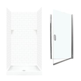 Swanstone White 5 Piece Alcove Shower Kit Common 36 In X 36 In