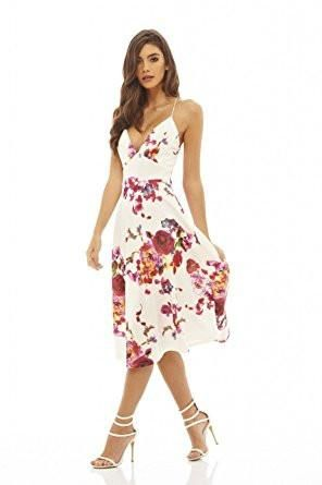 Cream Deep V-Neck Floral Print Strappy Midi Skater Dress  a2bc081e0
