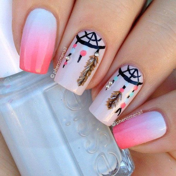 Light Gradient Nail Art Design In Blue White And Pink Combo With Intricate Details