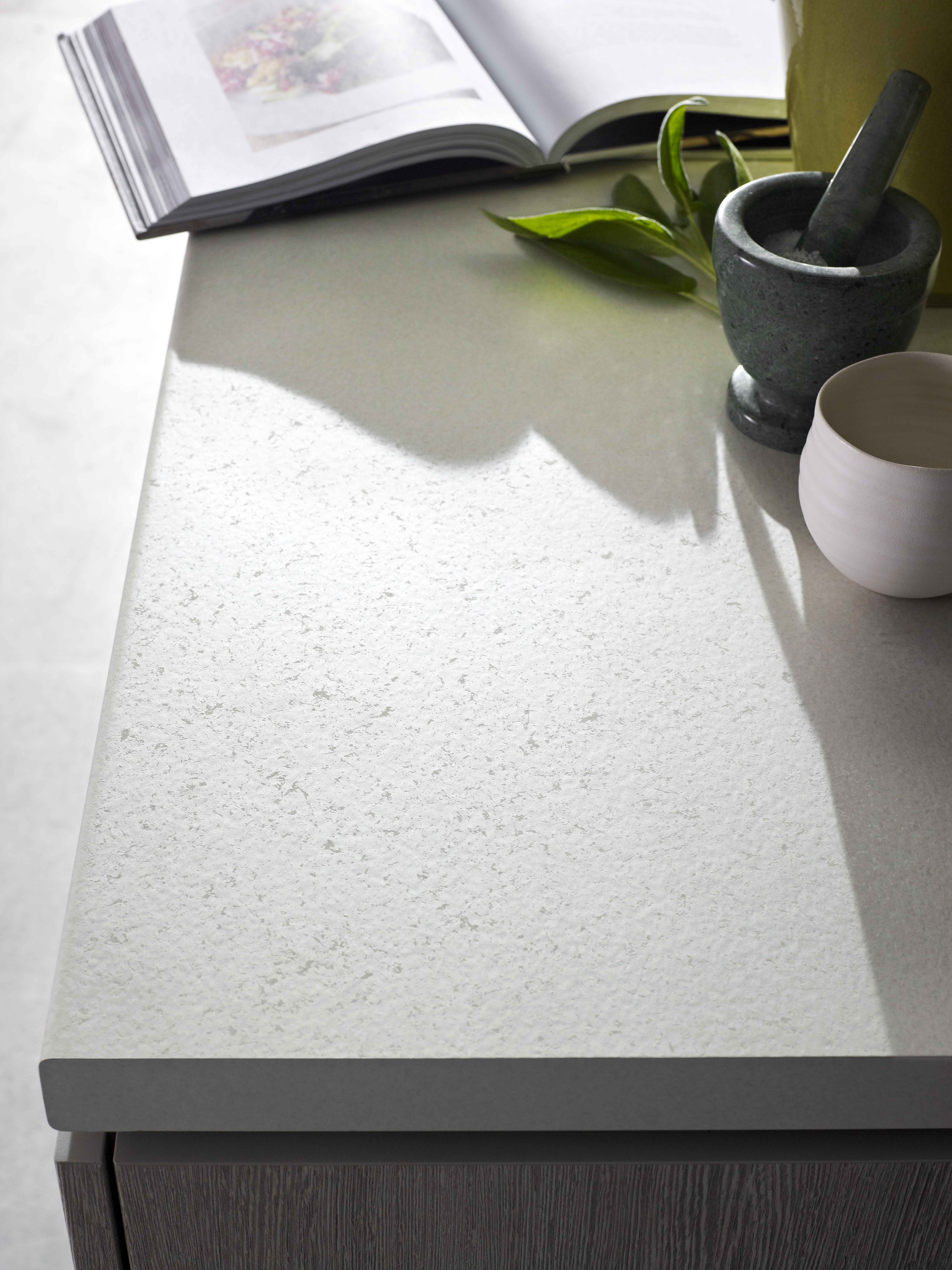 Benchtop Laminex Fresh Snow Spark Finish And Base Cupboard