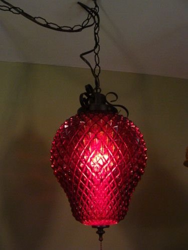 Funky Vintage Retro Ruby Red Strawberry Wrought Iron Ceiling Swag Light Lamp Swag Lamp Ceiling Swag Swag Light
