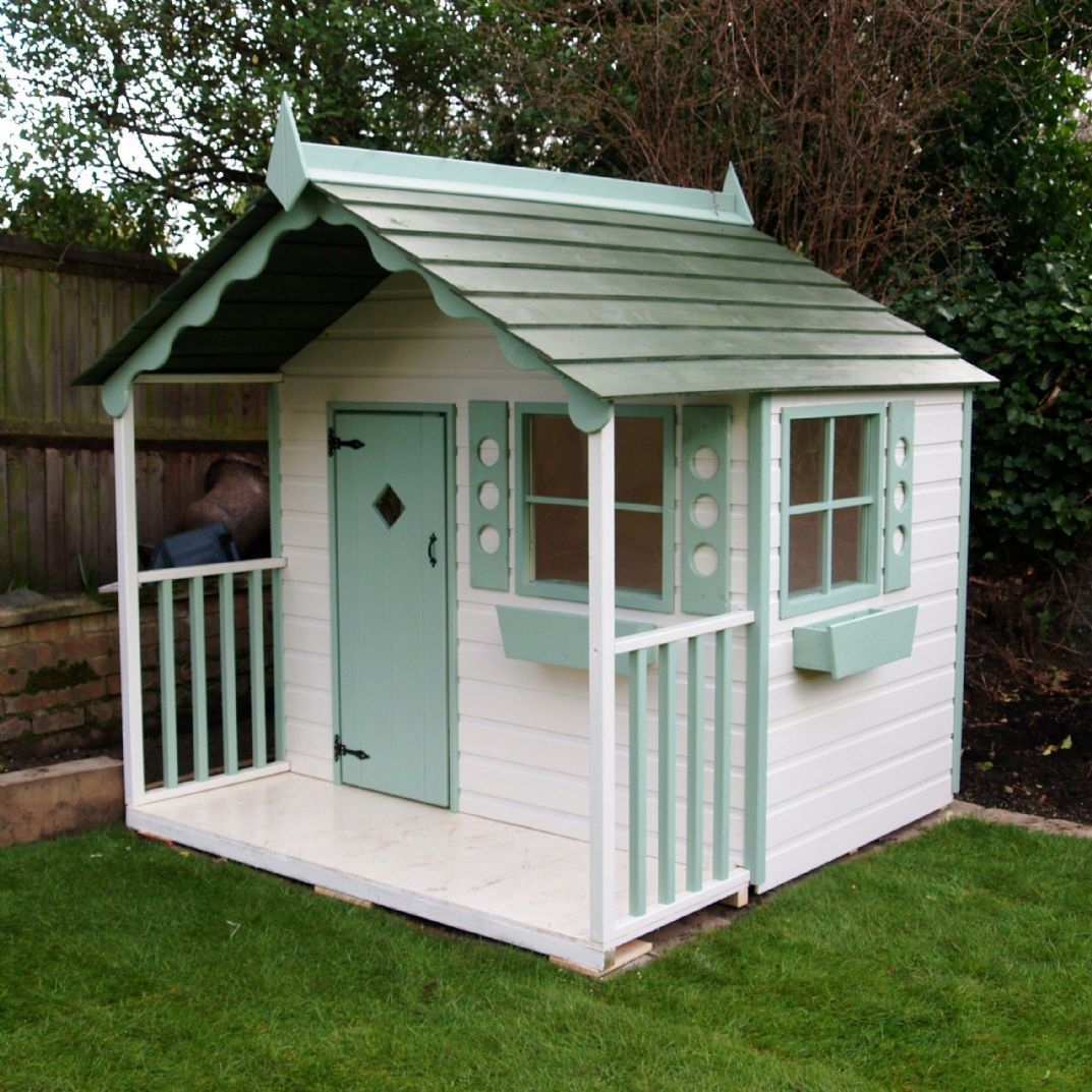 Chalet playhouse wooden children 39 s cottage solid wood for Wooden wendy house ideas
