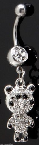 Panda Bear Covered in Clear Gems Dangle Animal Belly Ring Body Jewelry