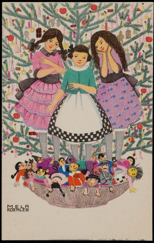 Three girls with dolls in front of a Christmas tree | Austrian (Vienna) about 1912 Publisher Bruder Kohn (Austrian (Vienna)), Artist Mela Koehler (Austrian, 1885–1960)