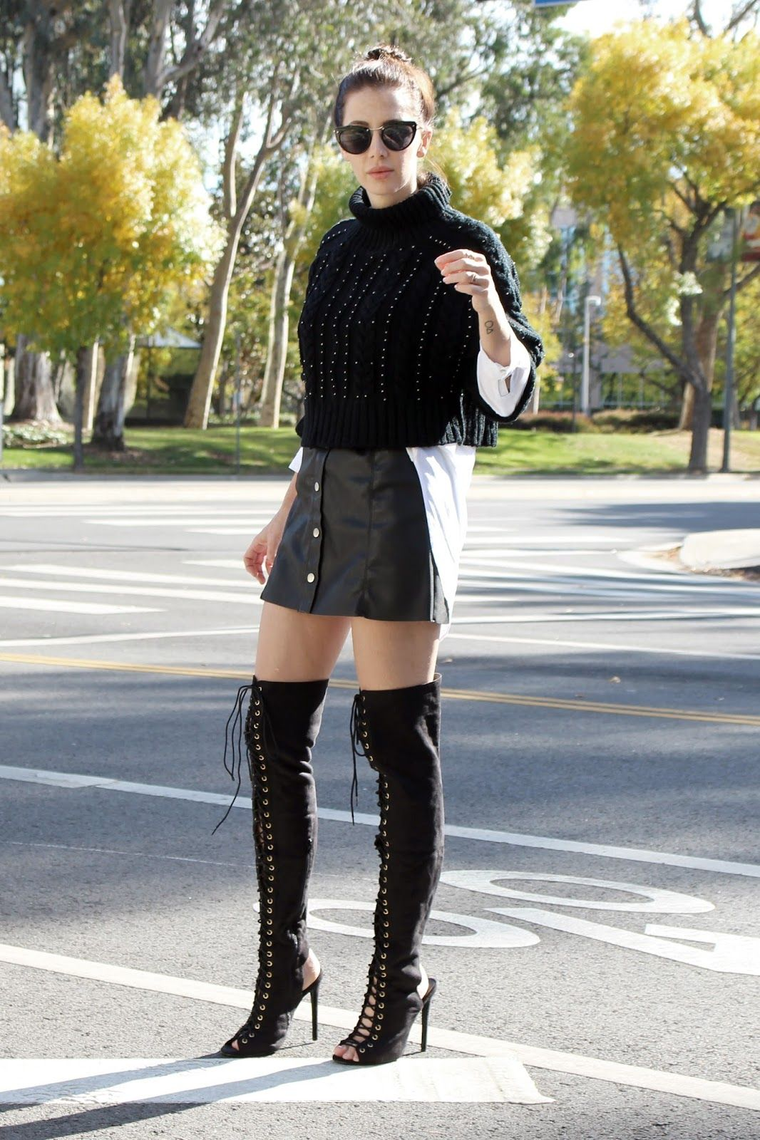 Leather skirt. A line skirt. Button up skirt. Over knee boots ...