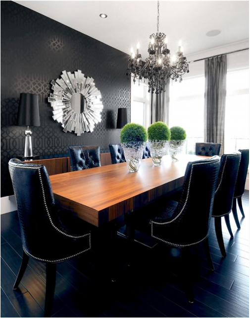 Studded Dining Room Chairs Vintage Leather Club Damn Sexy Alligator Black Crystal Chandelier Embossed Wall Paper Chrome Lamps And Shatter Style Mirror