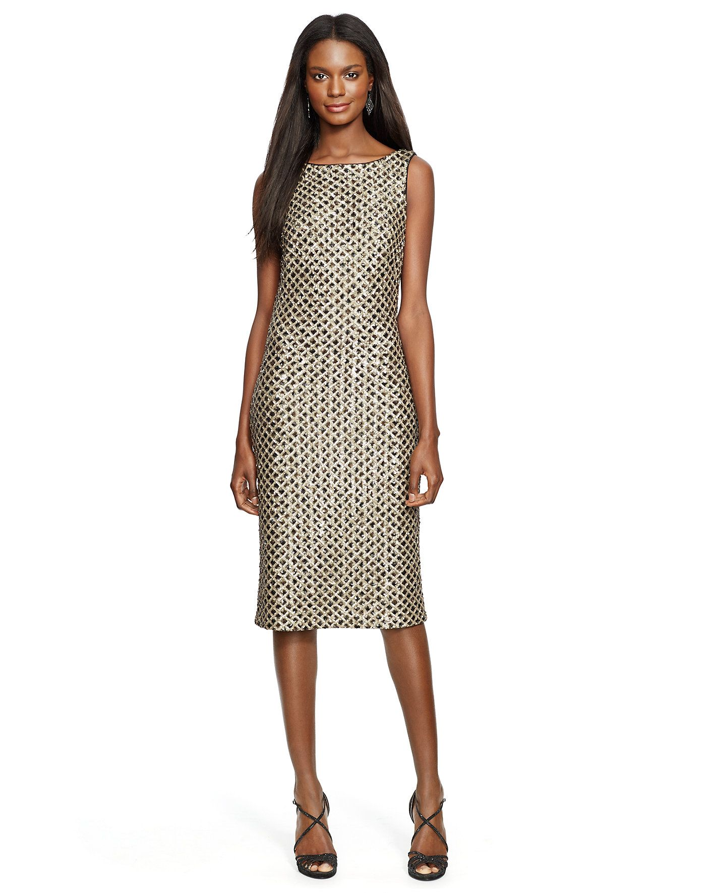 17d055a942a4 Sequined Sheath Dress - Mid Length Dresses Dresses - Ralph Lauren UK ...
