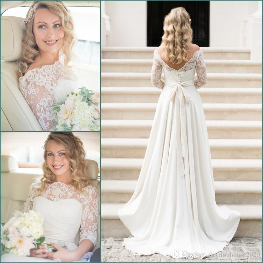 Ivory lace chiffon country wedding dresses with sleeves bateau neck