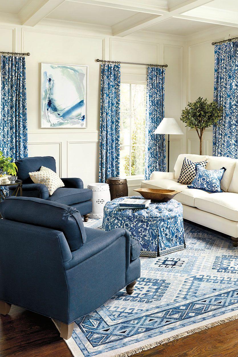 Astonishing Blue Living Room With Pattern Carpet Ottoman Pillows Machost Co Dining Chair Design Ideas Machostcouk