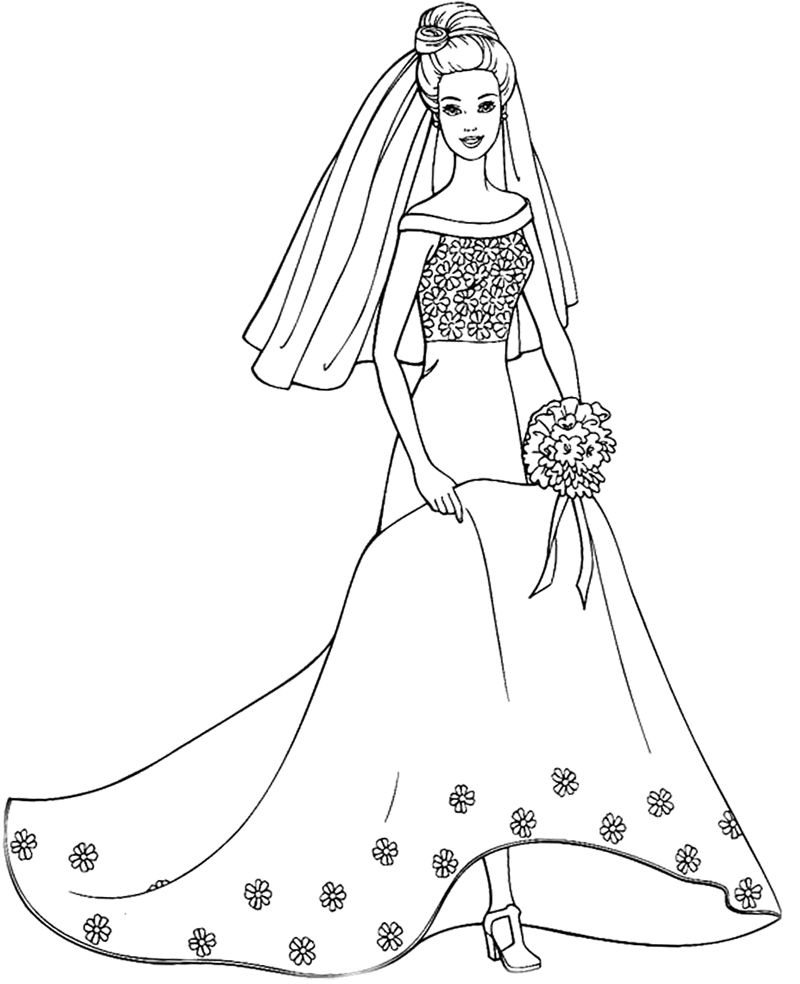 Barbie Doll Wearing A Wedding Dress Coloring Pages Kids