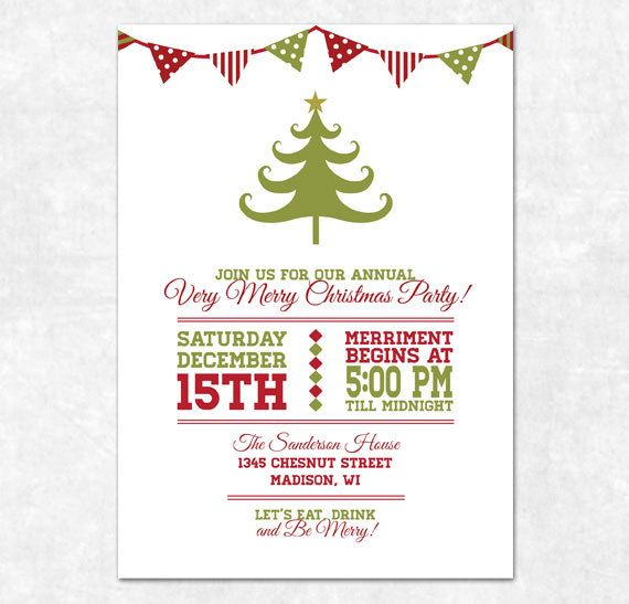 Printable Christmas Invitation - Holiday Bunting and Christmas - christmas dinner invitations templates free