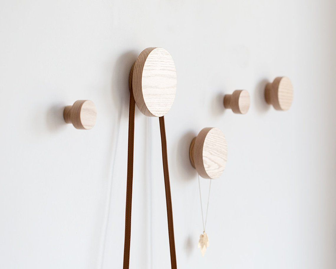 Wooden Wall Hooks Rustic Coat Hooks Modern Coat Rack Round Etsy