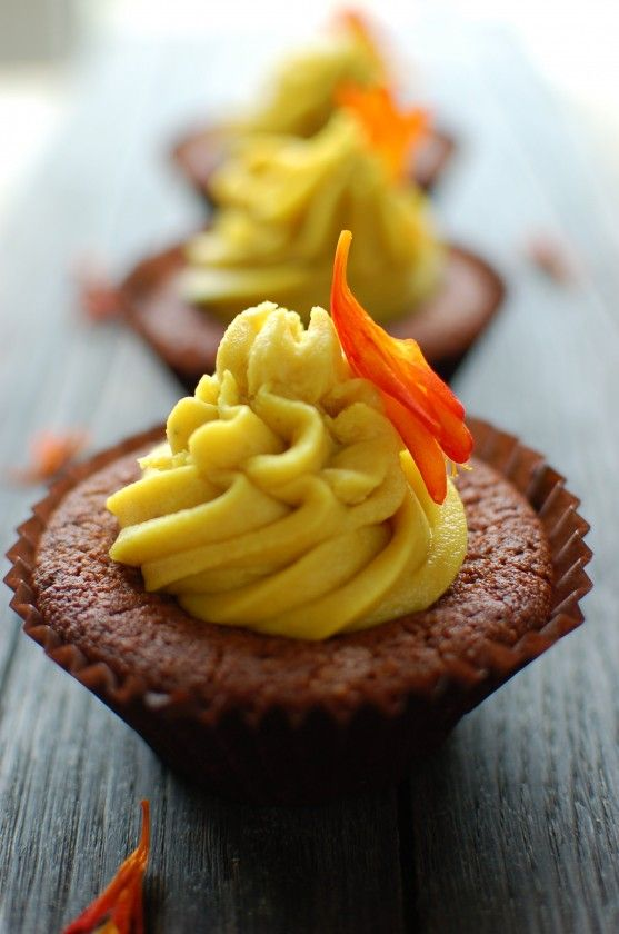 Orange Chocolate Cashew Cupcakes