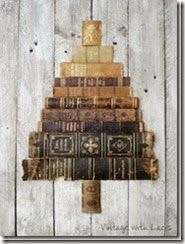 Book Spine Christmas Tree - Vintage with Laces