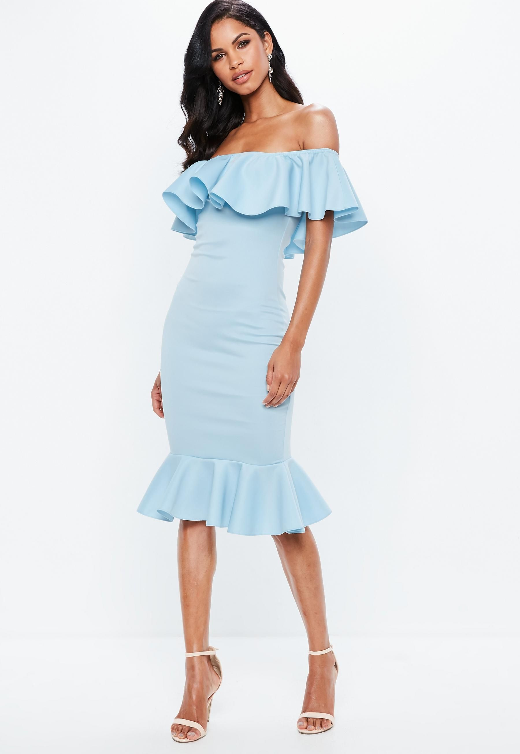 7077765b1073 Blue Bardot Frill Fishtail Midi Dress | Missguided | Color palette ...