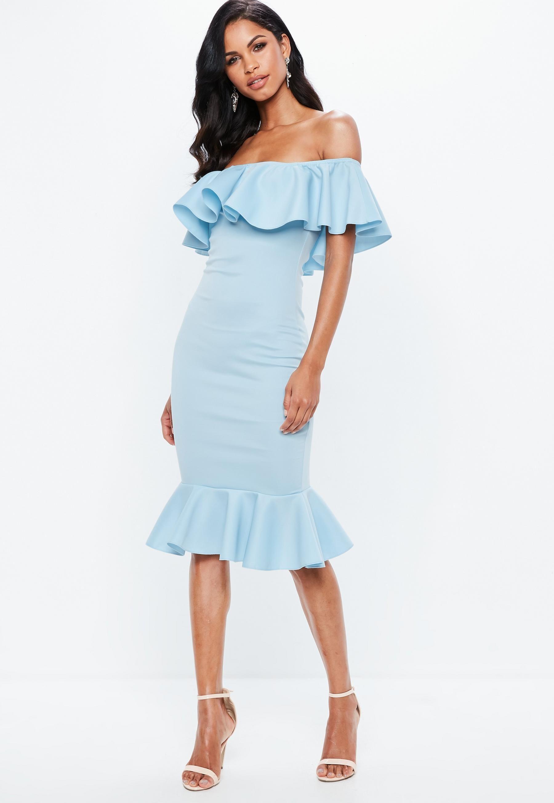 cfef39a99f Blue Bardot Frill Fishtail Midi Dress