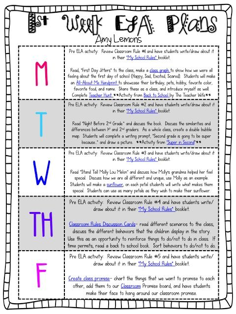 First Week Lesson Plan Ideas for 2nd Grade I chose this because it - sample weekly lesson plan
