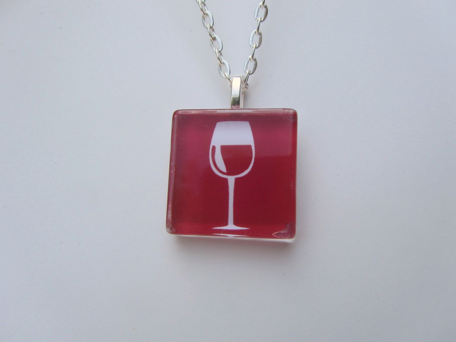 Wine Glass Pendant Necklace With Silver Chain Necklace Glass Pendant Necklace Silver Chain Necklace Glass Pendants