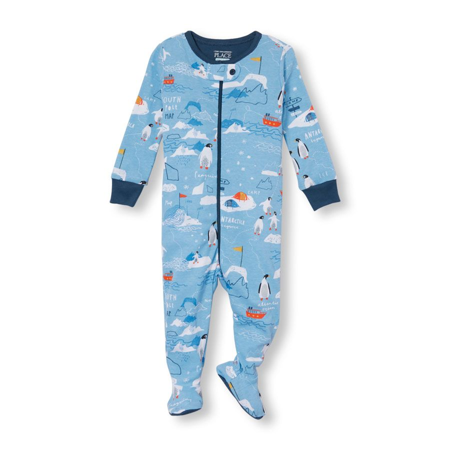 Baby And Toddler Boys Long Sleeve South Pole Penguin Print Footed
