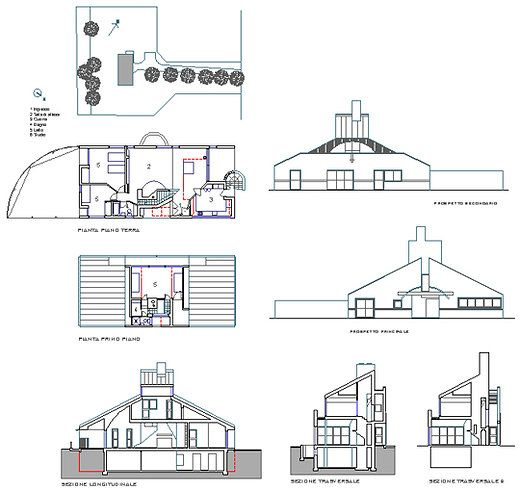 Archive  Vanna Venturi House architectural drawing, sketch