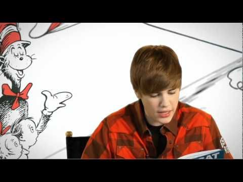 The Cat in the Hat read by Justin Bieber. (my little girl students will freak out about this!)