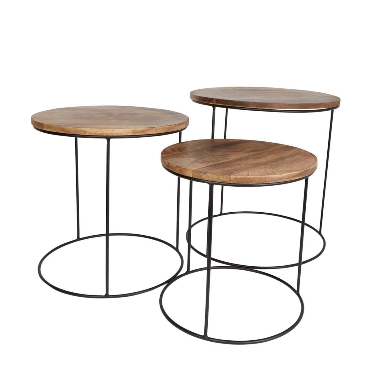 3 Tables Basses Gigogne Omango Bois Et Metal Bois Metal Table Basse Plateau Bois