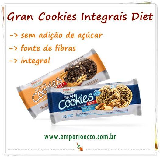 Os Gran Cookies Integrais Diet da Jasmine possuem todo o sabor dos cookies tradicionais sem adição do açúcar! Preço especial no Empório Ecco!