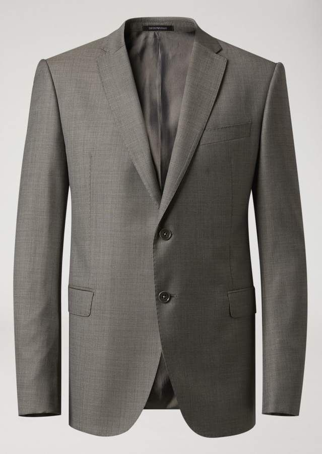 fe3475f1ab Emporio Armani Modern Fit Suit In Pure Virgin Wool With A Single ...