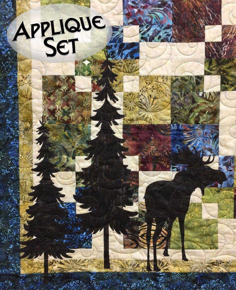 Moose & Trees Laser Cut Applique Set | Quilt Patterns/Kits ... : moose quilt pattern - Adamdwight.com