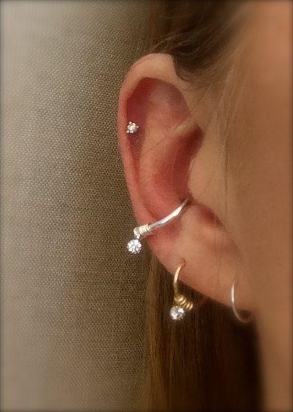 Conch Earring Hoop Diamond Cz Silver Cartilage Septum Ring Helix Hex Tragus Endless Crystal Piercing Rook Orbital 14 Gauge By