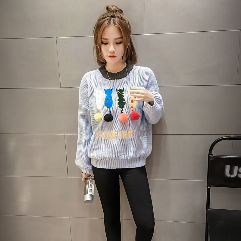 The New South Korean cartoon cat winter ball head sleeve loose thin long sleeved sweater female cute balls knit sweater