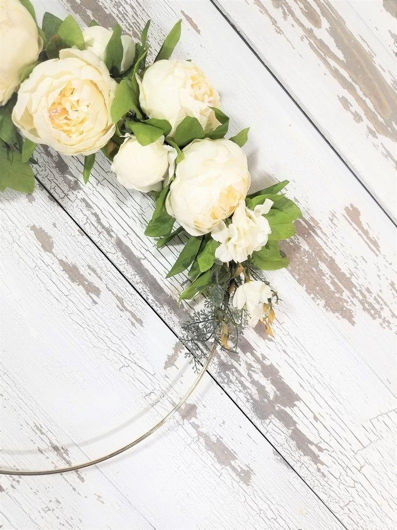 Photo of White Spring Wreath, White Peony Wreath, White and Green Modern Wreath, Hoop Wreath, White Spring Wreath, Peony Wreath