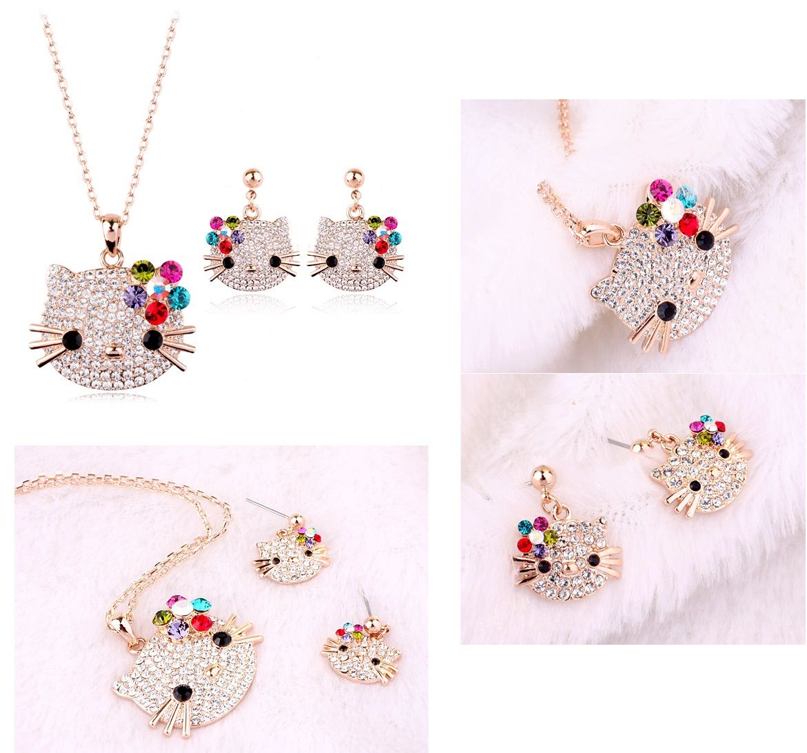 Crystal bling hello kitty necklace and earrings set mijn kids