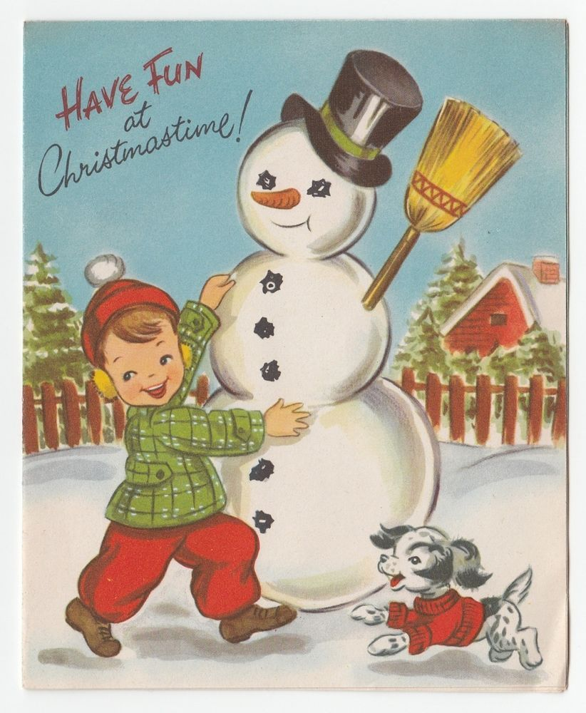 Vintage greeting card christmas cute snowman little boy dog vintage greeting card christmas cute snowman little boy dog pollyanna 50s a492 kristyandbryce Image collections